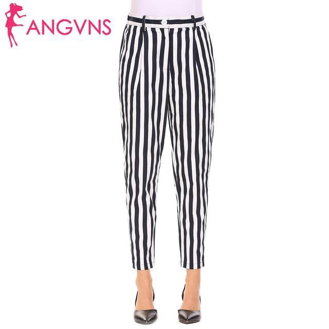 ANGVNS Striped Strechy Elastic High Waist Harem Pants Slim Long Trousers Casual