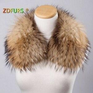 Image 1 - ZDFURS * damski kołnierz z prawdziwego futra szop kwadratowy kołnierzyk szalik szal kołnierz zimowy szalik ZDC 163010