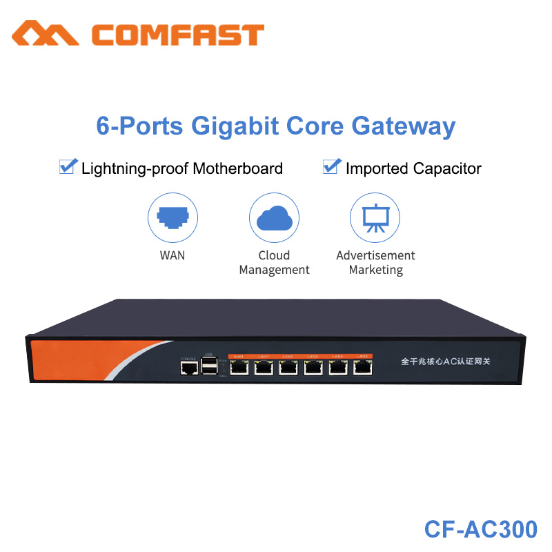 Comfast AC300 6 Port Gigabit AC Wifi Core Gateway Enterprice Load balancing Router Multi Wan Wi fi Project Roaming Controller стакан для зубных щеток kassatex jungle akj tbh