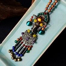 Elephant Mouse God Fashion vintage necklace glass glazed vintage jewelry,New ethnic necklace nature stones sweater necklace
