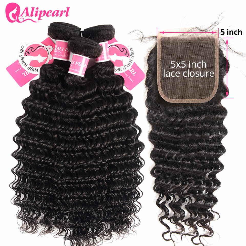 Deep Wave Bundles With 5x5 Closure Brazilian Human Hair 3 Bundles With Closure Free Part Remy Hair Extensions AliPearl Hair