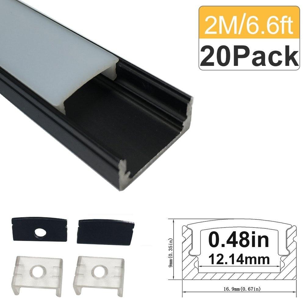 6.6ft / 2M 20 Pack (131ft / 40M) 9x17 მმ შავი U - ლედ განათება