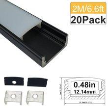 6.6ft/2M 20 Pack(131ft/40M) 9x17mm Black U Shape LED Aluminum Channel Internal with Cover End Cap Clips for LED Strip-U02B2M20