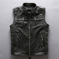 DHL Free Shipping 2019 Men Professional Motorcycle Biker Sleeveless Jacket Genuine Leather Vest Harley Rivet Cowskin Black Vest