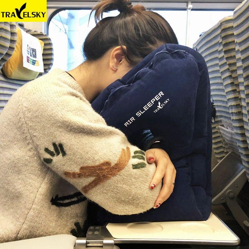 Upgade Folding Air Aufblasbare Reise Kissen Flugzeug Ansatz Chin Kopf Unterstützung Rest Kissen für Zug Büro Weich Schlafen Kissen