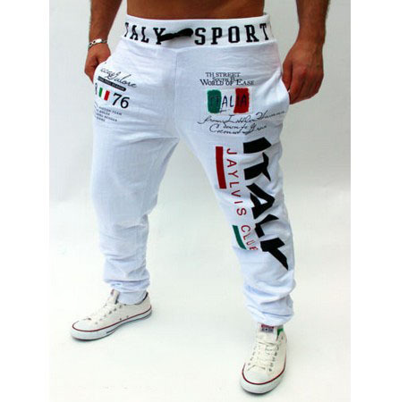 Free shipping casual pants Italian flag printing design casual pants large size high quality