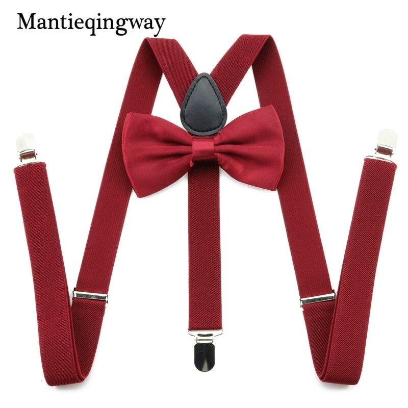 Mantieqingway Women Adult 3 Clip-on Y Back Suspender Braces Bow Tie Set Unisex 2.5cm Elastic Suspenders Bowties Set For Men