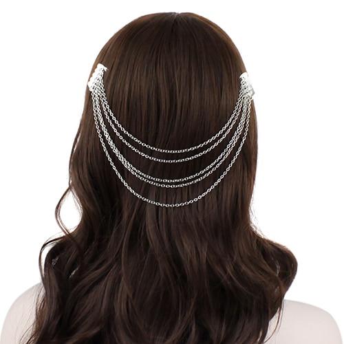 2016 Fashion  Metal Long Tassel Chains Cuff Hair Combs Women  Girls Hairband Headwear Hairwear 5BW4 7ETS 88IG