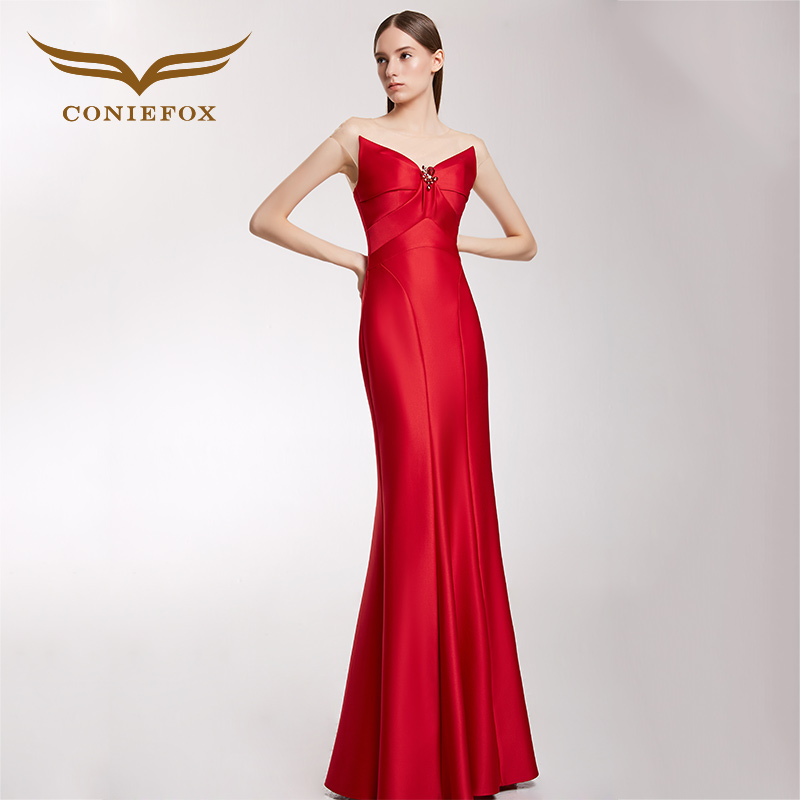 CONIEFOX 32266 red moderator Sexy personality Slim Ladies Retro backless  mermaid prom dresses party evening dress gown long new ad32919fd414