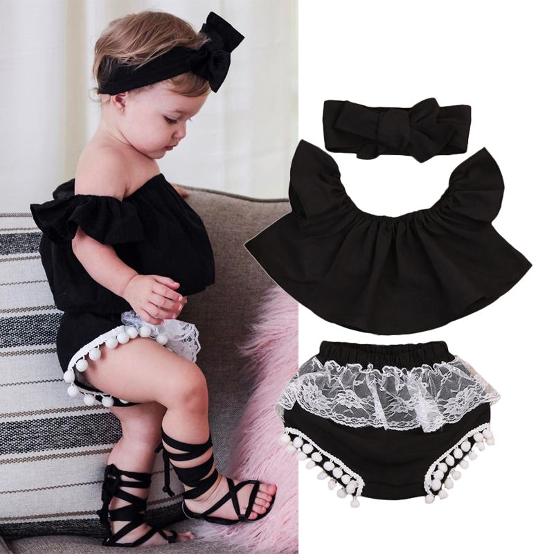 3PCS Baby Kids Girls Casual Ruffle Off Shoulder Top Tank+Shorts Pants Outfit Black Short Sleeve Cotton Clothes Sets girls tops cute pants outfit clothes newborn kids baby girl clothing sets summer off shoulder striped short sleeve 1 6t