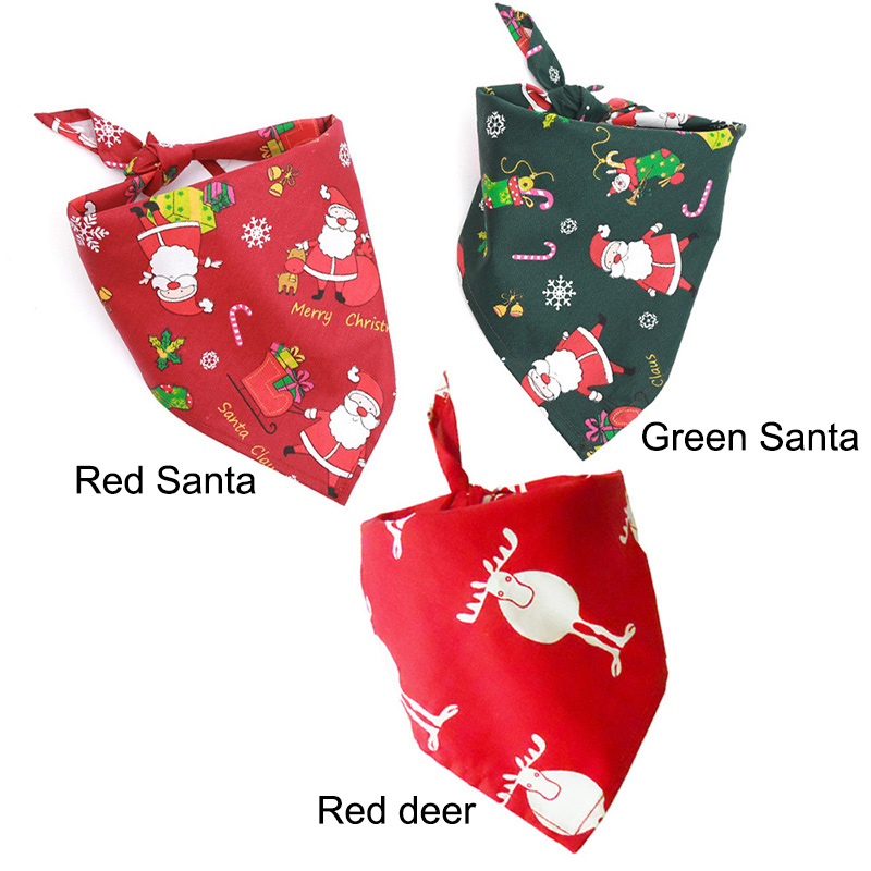 Christmas Pet Bandana Santa Pattern Red Green Scarf Dog Bandana Cat Collar Bib GQ999