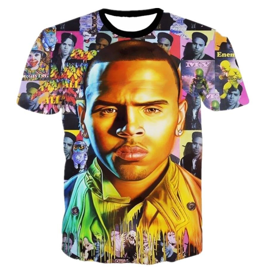 Super Star Men 3D Printed T shirts New Fashion Chris Brown