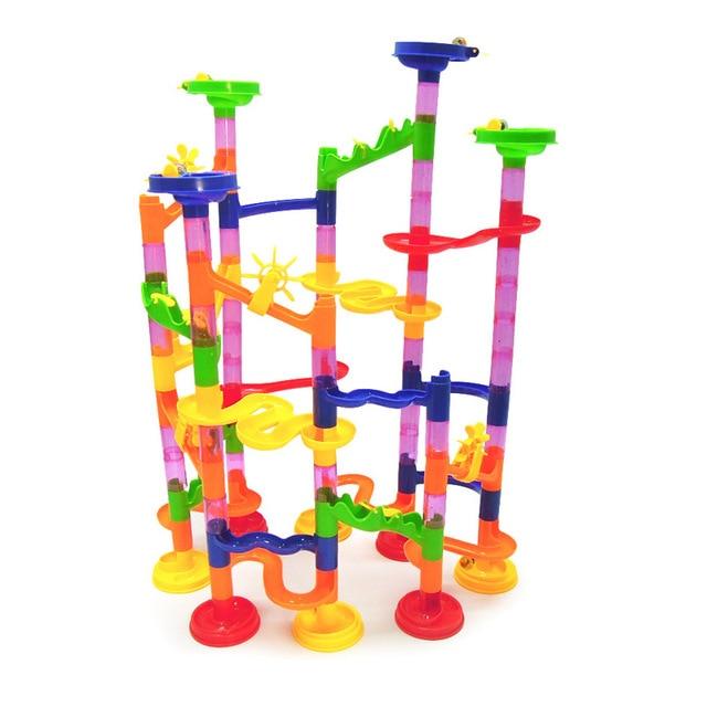 105 pcs BOHS Mármore Corrida na Pista Labirinto Jogo Brinquedo Modelo de Construção