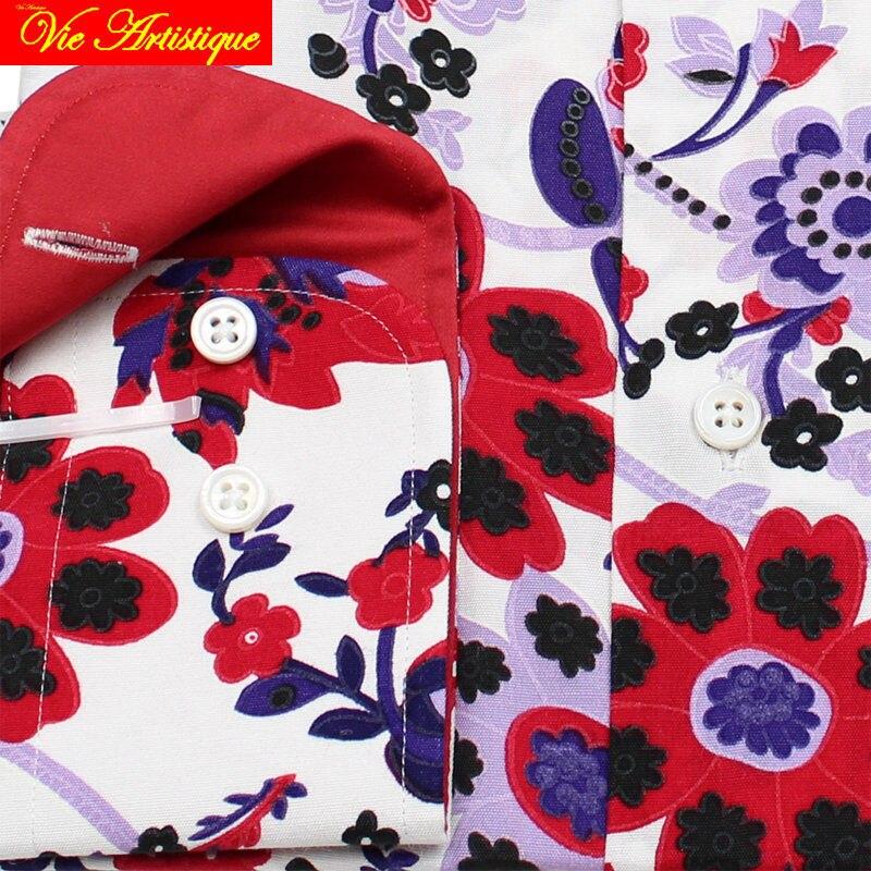 Personalizzato su misura su misura da Uomo cotone floreale camice di vestito di affari da sposa formale ware camicetta 2019 manica lunga fiore rosso - 3