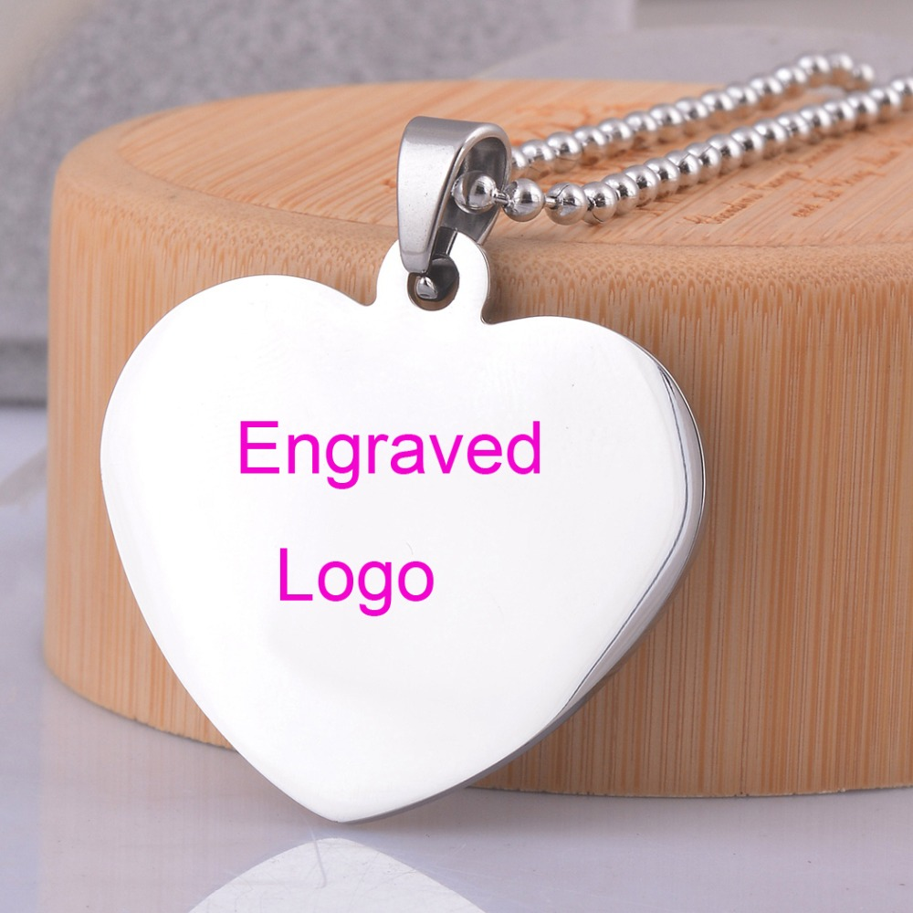 Stainless Steel ID Heart Pendant Customized Make Name Logo Free Engraving Dog Tag Necklace