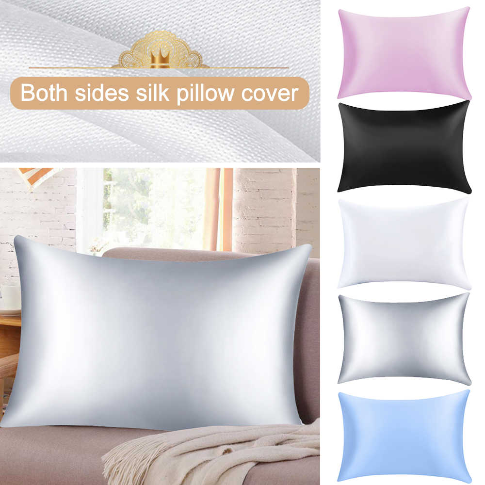 1PC Soft Mulberry Plain Pillow Case Pure Emulation Satin Square Pillow Single Cover Chair Seat Silk Pillowcase Cover