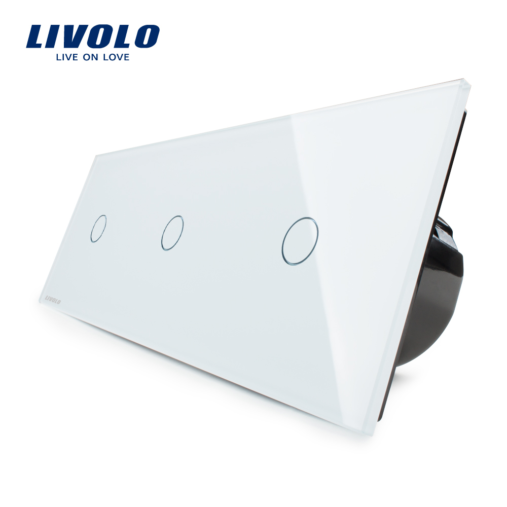 Manufacturer,Livolo EU Standard, Luxury Wall Triple Touch Switch, VL-C703-11,With White Crystal Glass Panel manufacturer  eu standard  luxury wall