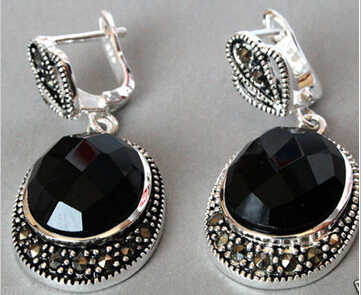 Bridal jewelry free shipping hot sellVintage Sterling Silver Natural Faceted Black stone Onyx Marcasite Earrings