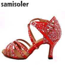 Sapato de dança latina samisoler, feminino, sapatos de dança latina, brilhantes, vermelho, cetim, salsa, festa