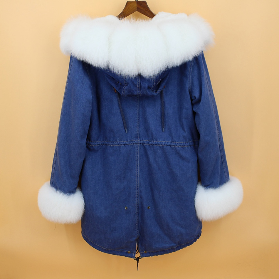 women demin fur parka natural fox fur hoody  (2)