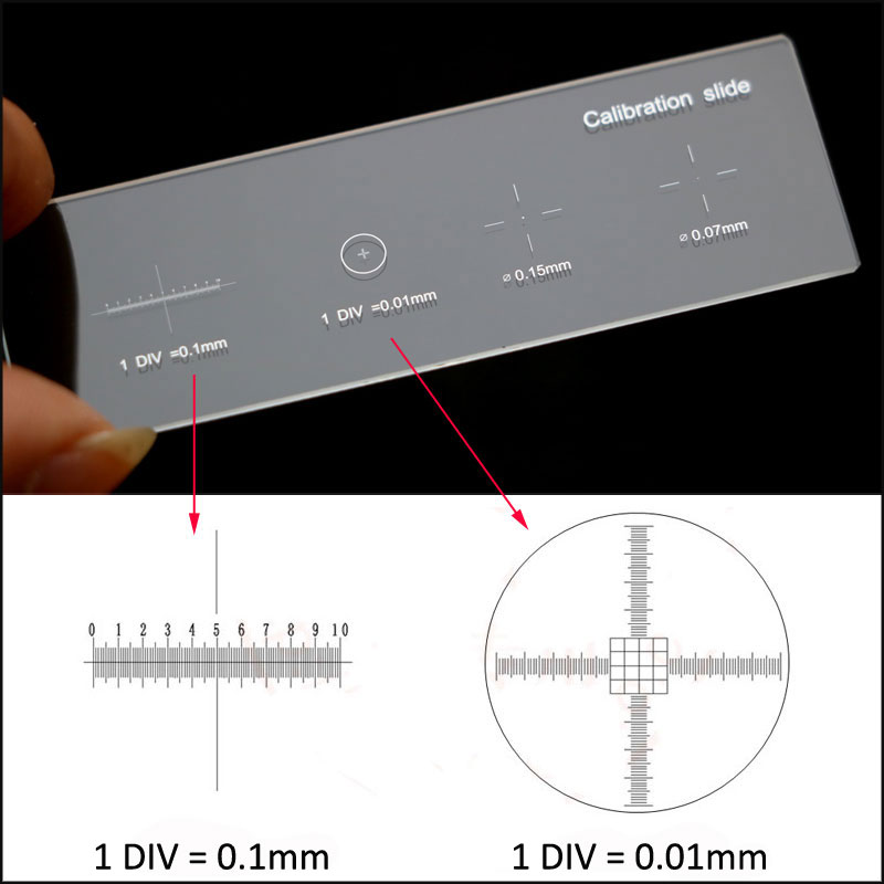 926 0.01mm Microscope Slides Reticle Calibration Slide Ruler Cross Multifunctional Microscope Calibrating Ruler Stage Micrometer