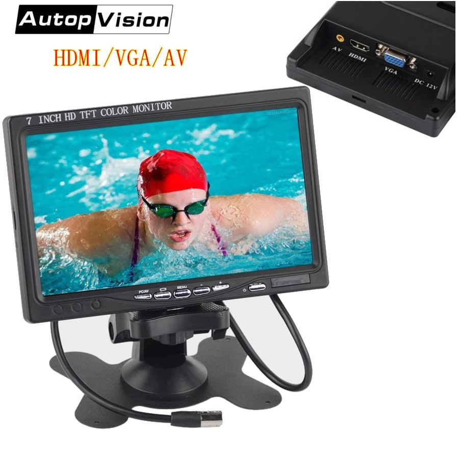 7 inch industrial TFT LCD monitor 1024 x 600 HD Bright Color Car CCTV Monitor HDMI VGA AV Interface Rear View Monitor