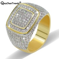 Hip hop Mens Mirco Pave CZ Bling Iced Out Rings Boys Chain Finger Rings Hiphop Gold Filled Simulated Lab Stone Jewelry
