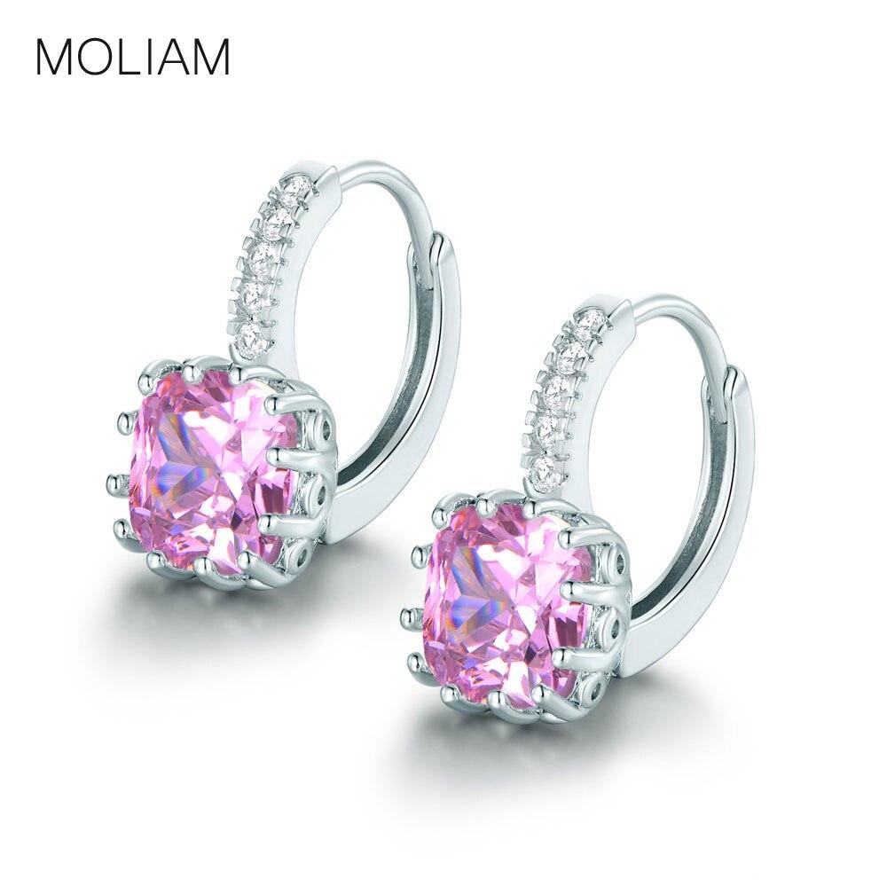 b6e489c41dbc Moliam Hoop pendientes para las mujeres plata color AAA cubic zirconia  cristal Pendientes moda joyería bijoux Venta caliente mle001