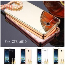 UVR For ZTE A510 Case Luxury Plating Aluminum Metal Frame Mirror Acrylic Phone Cases For ZTE Blade A510 A 510 Back Cover