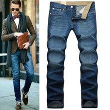 2016 Мужчины марка мода повседневная Прямые Джинсы Ретро Хлопок темно-синий 28-42 Плюс Размер джинсы