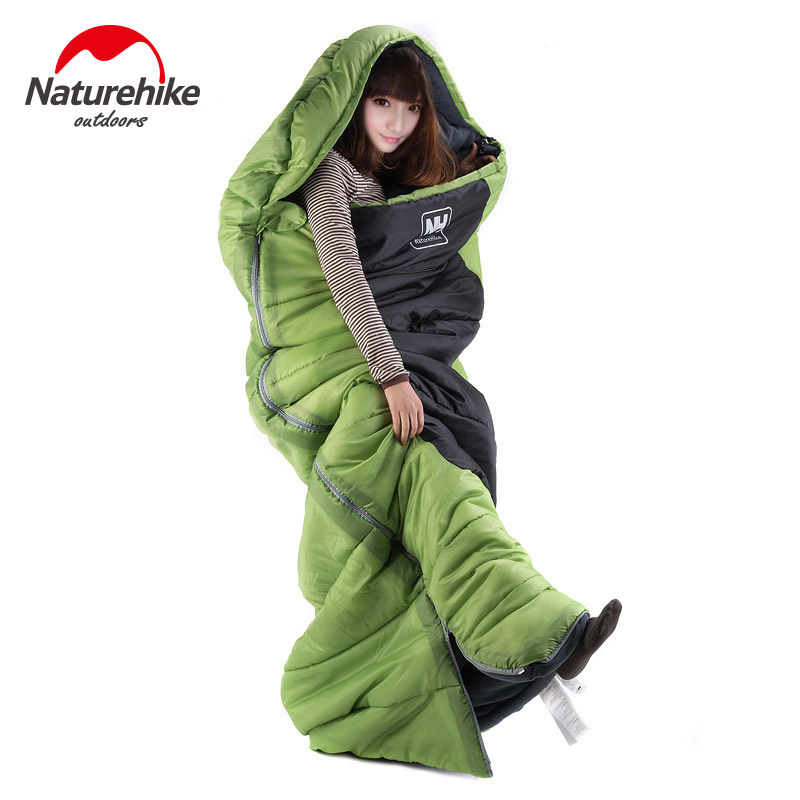 Naturehike Ultralight  Portable Envelope Cotton Sleeping Bag Camping Sleeping Bag Outdoor Camping Hiking Travel Kits 3 Colors naturehike envelope shaped sleeping bag cotton portable outdoor travel camping hiking sleeping bag for adult with carry bag