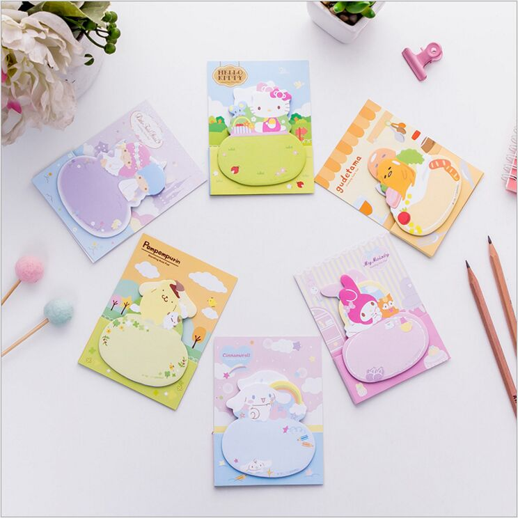 Lovely Melody Little Twin Stars Cinnamoroll Gudetama Daily Plan List Agenda Planner Accessories Index Sticky Memo Message pad