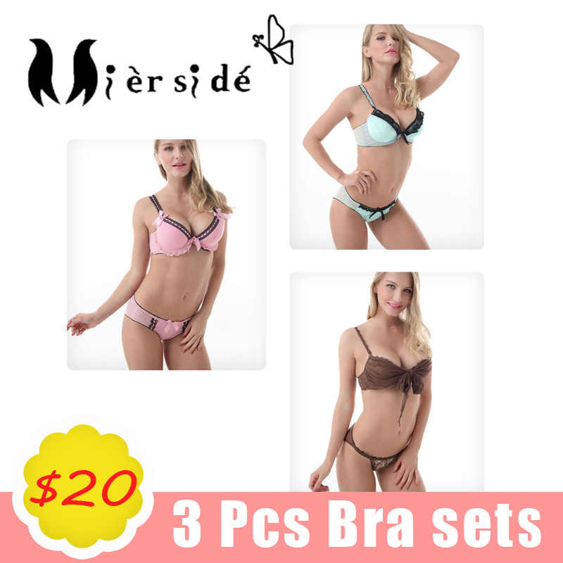 Mierside 3 Sets Of Bras Of Women Sexy Lace Underwired Push Up Bra And Hot  Thong afc0b37bd