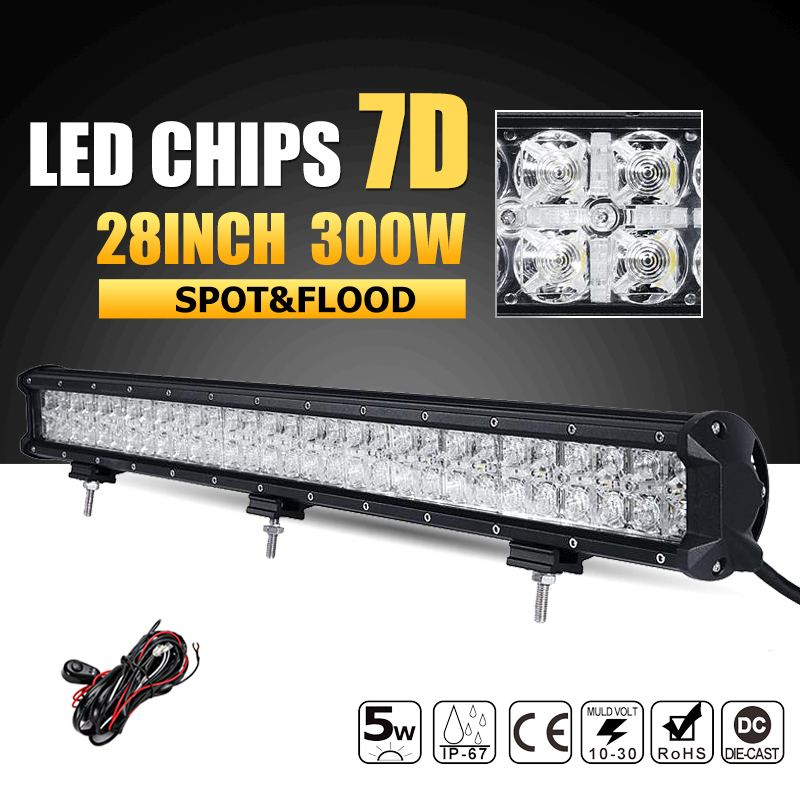 Oslamp 7D 300W 28 inch LED Work Light Bar Combo Beam Offroad Led Bar DRL Driving Lamp Lights Truck Boat SUV ATV 4x4 4WD 12v 24v 240w led light bar 13 5inch combo beam led bar driving lights 5d lens reflector led off road lights 4x4 suv truck boat utv atv