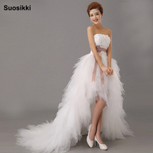 Suosikki 2016 New Arrival White Bridal Wedding Dress Wedding Gown Sweetheart wedding irregular short in front long Dresses