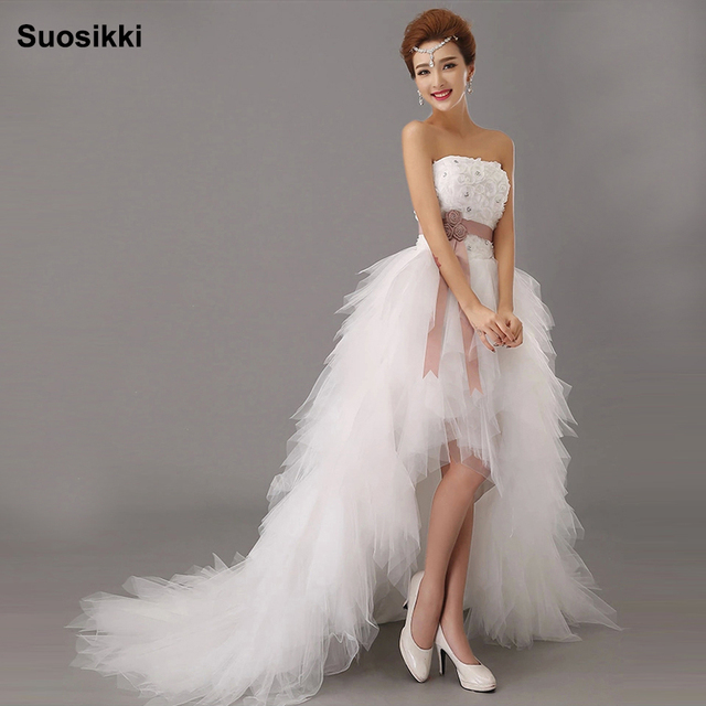 Suosikki 2016 New Arrival White Bridal Wedding Dress Gown Sweetheart Irregular Short In Front