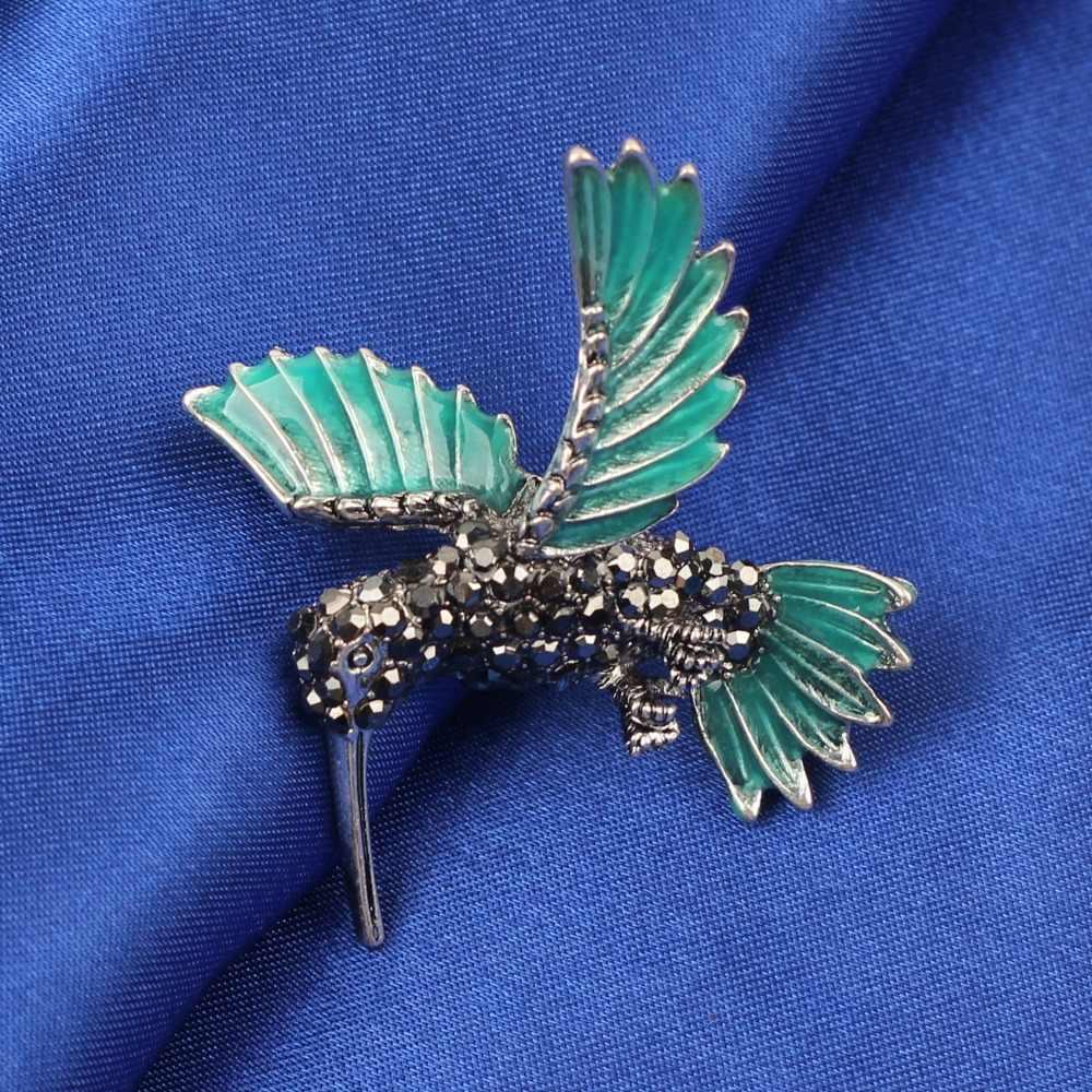 Bonsny Enamel Alloy Hummingbird Hummer Bros Berlian Imitasi Pin untuk Wanita Pakaian Syal Dekorasi Perhiasan Wanita Dekorasi Massal