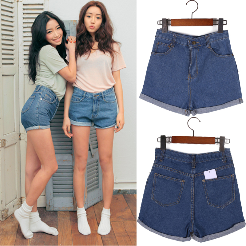 New summer fashion loose casual roll up hem shorts plus size high ...