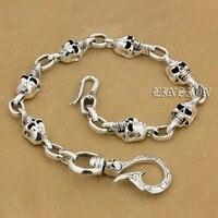 Все длины доступны Твердые 925 стерлингового серебра череп рыбы крюк мужские Байкер рокер панк кошелек цепь 9T014