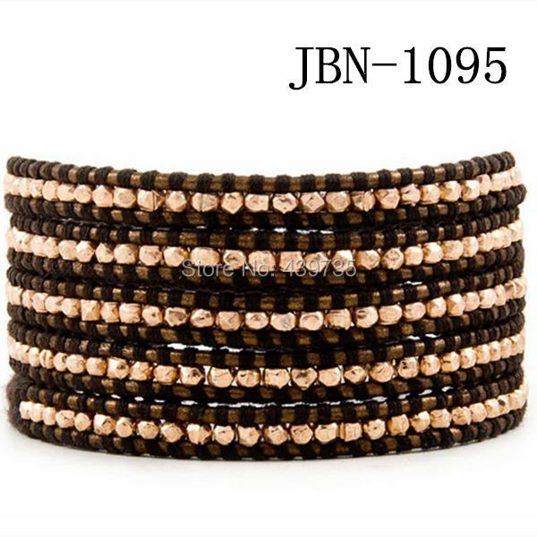 new arrival vintage Style weaving leather wrap bracelet african jewelry 4mm copper beads bracelet,adjusted size JBN-1095