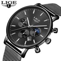 Lige Top Элитный бренд Для мужчин часы Нержавеющаясталь часы с сетчатым ремешком Бизнес часы Для мужчин Дата Спортивные кварцевые наручные ча