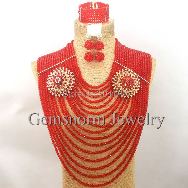 Fantastic Red Nigerian Wedding African Crystal Beads Jewelry Set Fashion Jewelry Sets  Full Set Free Shipping WB015Fantastic Red Nigerian Wedding African Crystal Beads Jewelry Set Fashion Jewelry Sets  Full Set Free Shipping WB015