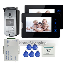 Wholesale prices Home Security Wired 7″ Touch Screen Video Door Phone Intercom 2 Monitor + Outdoor RFID Access Camera Power Supply FREE SHIPPING