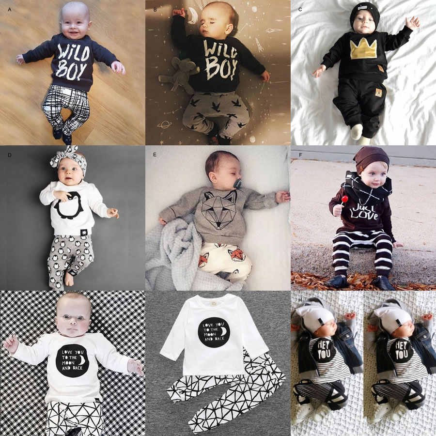 4b5dcacec Christmas 1st Birthday Outfits For Baby Boy Girl Set Clothing Fox Penguin T  Shirt Top+