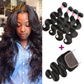 10APeruvian Virgin Hair With Closure New Star Hair 3 Bundles With Closure Peruvian Virgin Hair Free/Middle Part Top Lace Closure