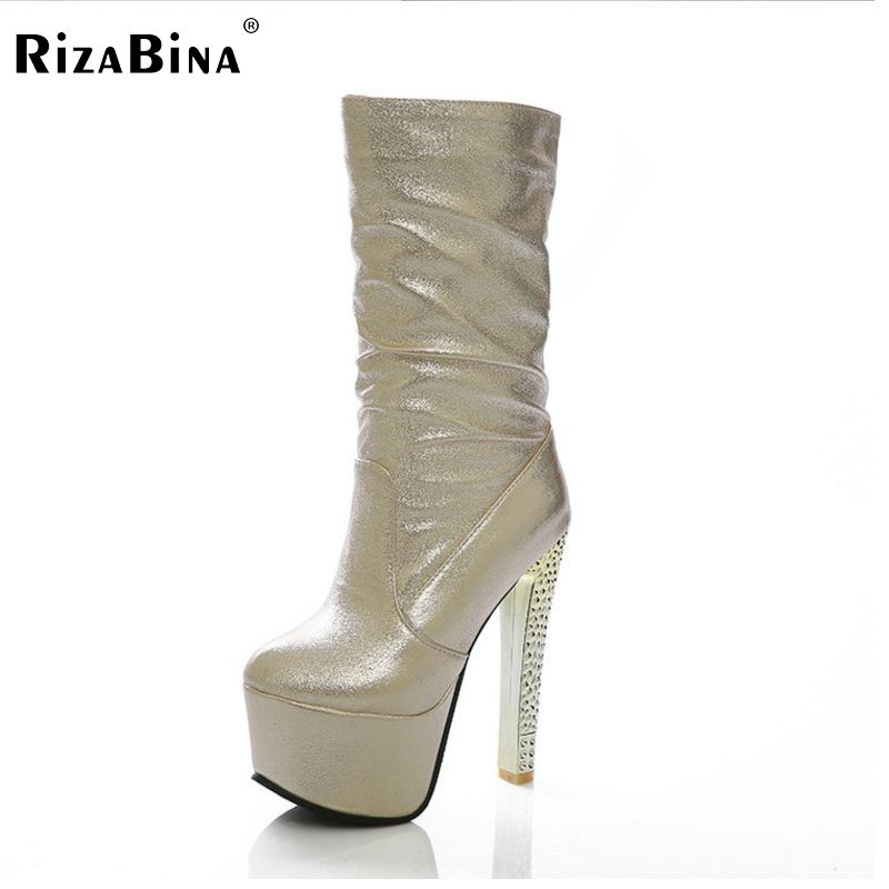 RizaBina Free shipping over knee high heel boots women snow fashion winter warm footwear shoes boot P15706 EUR size 33-40 free shipping candy color women garden shoes breathable women beach shoes hsa21