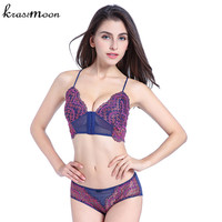 New Fashion Women Colorful Lace Sexy Push Up Wireless Bralettes Front Closure Bra And Panties Breathable