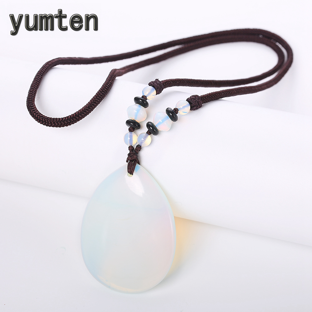 Yumten Natural Opal Necklace White Crystal Pendant Gothic Women Power Jewellery Anniversary Accessories Water Drop Rope ChainYumten Natural Opal Necklace White Crystal Pendant Gothic Women Power Jewellery Anniversary Accessories Water Drop Rope Chain