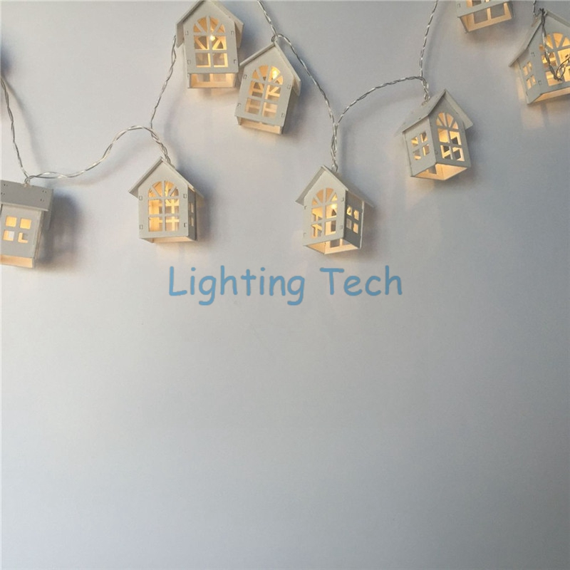 Holzhaus Lattice LED String Licht Indoor Laterne Girlande Haus Wohnzimmer Fenster Dekorative Lampe Batteriebetriebene In