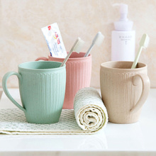 Plain Eco-friendly Brush Cup Creative Circular Water Cups Toothbrush Holder Plastiic Rinsing Wash Tooth Mug Bathroom